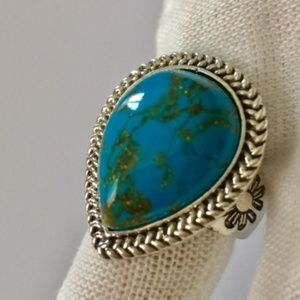 Antique Silver Plated Turquoise Ring
